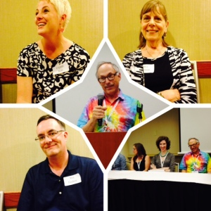 clockwise from top: writers Crystal Rast: Daisy Ottoman: Editor/agents panel: writer Mat Hudson. Center: Agent Andy Ross
